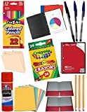Back to School Everyday Classroom Supplies Kit Including Notebook, File Folders, Coloring Pencils, Crayons, Pocket Folders, Pastel Sheets, Pens, Pencils and More.