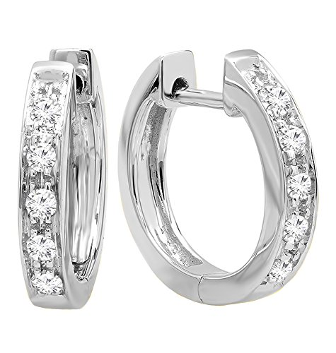 (Dazzlingrock Collection 0.12 Carat (ctw) 10K Round White Diamond Ladies Huggie Hoop Earrings, White)