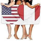 Bath TowelUnisex PERU USA Flag Twin Heart Over-Sized Cotton Bath Beach Travel Towels 31x51 Inch