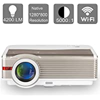 EUG HD Android Wireless LCD LED Video Projector WiFi Home Theater Cinema Movie Gaming Projectors Support 1080P 720P Airplay Miracast with HDMI USB VGA AV Audio for iPad Phone Mac Laptop TV DVD