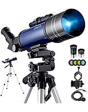 BEBANG Telescopen voor astronomie, draagbare 70 mm refractortelescoop voor beginners en kinderen met verstelbaar statief, fotosluiter, 4-maanfilter, houder voor telefoonadapter en rugzak