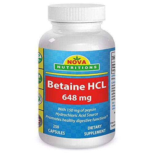 Betaine HCL 648 mg 250 Capsules by Nova Nutritions (250 Capsules Mg 150)