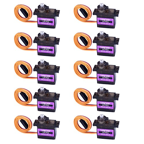 Longruner 10Pcs MG90S Metal Geared Micro Servo Motor 9G For Helicopter Airplane Boat Controls mini Servo 450 (Micro Control Horns)