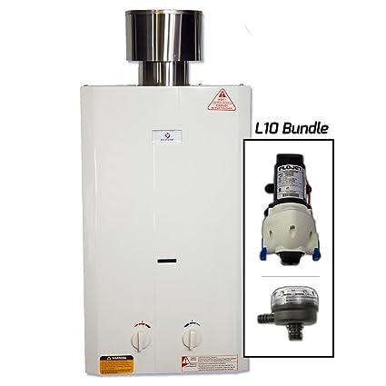 Eccotemp L10 Calefactor Calentador de agua portátil w/Flojet Bomba, colador y Set de