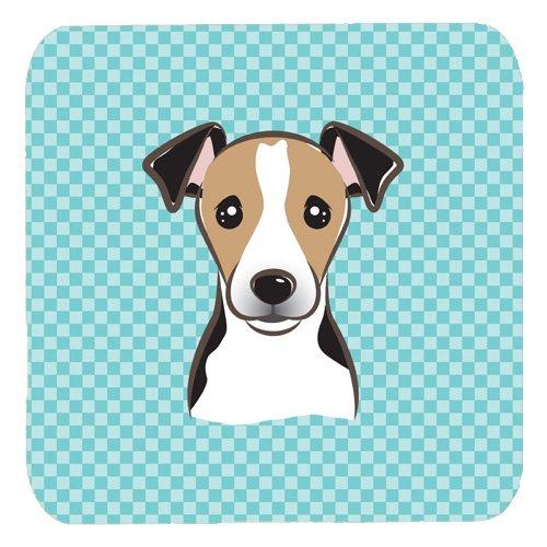 Jack Russell Terrier Coaster - Caroline's Treasures BB1199FC Checkerboard Blue Jack Russell Terrier Foam Coaster (Set of 4), 3.5