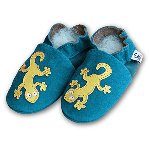 Lappa.de - Zapatos primeros pasos de Piel para niño Multicolor multicolor Multicolor - 233G Geckosl blau Wildleder
