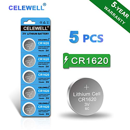 【5-Year Warranty】 CELEWELL CR1620 Battery for Key Fob/Tracker 70mAh 3V Lithium Coin Cell 5 Pack