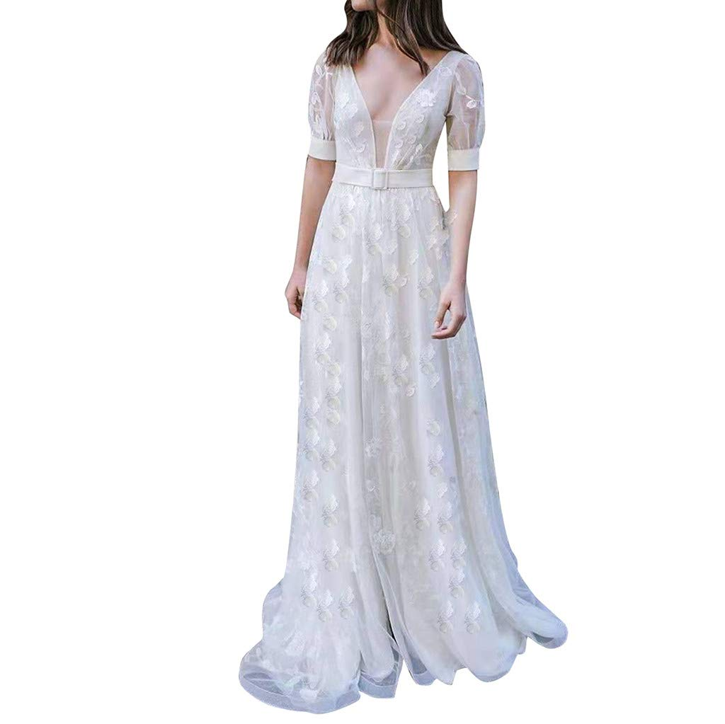Miuye Wedding Dresses Sleeveless V Neck Long Dress Casual Bridesmaid Party Dress Embroidery Backless Jumpsuits White