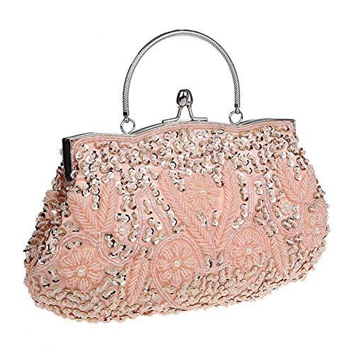 L�� Bag Handbag Style Purse Champagne Sequined Beaded Vintage Clutch Party Wedding Women's Vestmon Evening f4qr0f