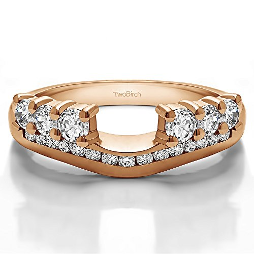 0.49 Carat Diamond Six Stone Anniversary Ring Wrap with Channel Set Band in 10K Rose Gold (G,I2) (size 14)