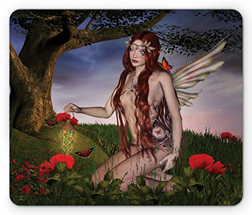 Fantasy Mouse Pad By Ambesonne  Redhead Fairy With Wings Holding A Butterfly Catcher Lantern Surrounded By Poppies  Standard Size Rectangle Non Slip Rubber Mousepad  Multicolor