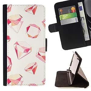 - Ruby Gemstone Pattern Red - Estilo PU billetera de cuero del soporte del tir???¡¯???3n [solapa de cierre] Cubierta- For Sony Xperia Z3 D6603 ( Devil Case )