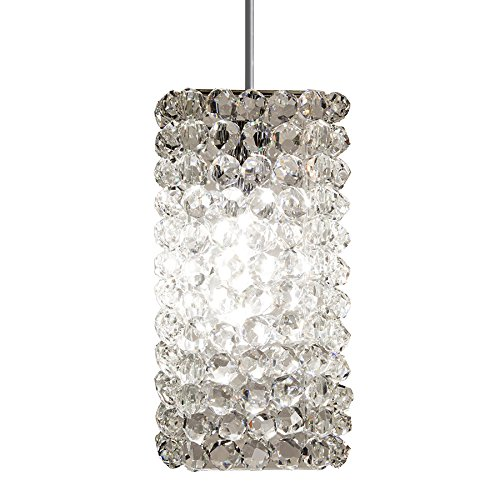 (WAC Lighting MP-LED939-WD/BN Haven LED Pendant Fixture with Brushed Nickel Canopy, One Size, Clear Diamond)