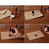 Wax Seal Sticks, Yoption 5 Pcs Totem Fire Manuscript Sealing Seal Wax Sticks with Wicks Cord Wick Sealing Wax For Postage Letter Retro Vintage Wax Seal Stamp (Dark Golden)