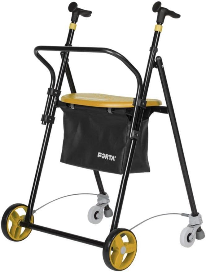 Andador para Ancianos, de acero plegable, con Frenos traseros, con Cesta Asiento y Respaldo, color Vainilla