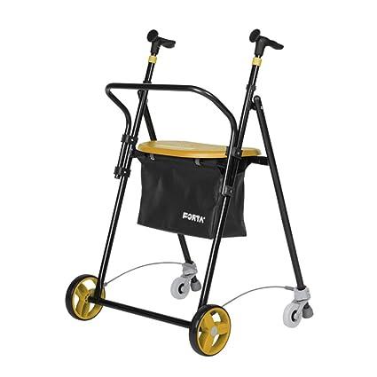 Andador para ancianos | De hierro plegable | Con frenos traseros| Con cesta asiento y
