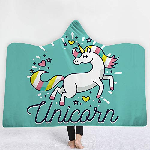 Cute Cartoon Hooded Blanket Unicorn Series 3D Magic Cloak Cosplay Party Children Blanket Sofa Blanket Wearable Velvet Towel Travel Blanket,BB13,150200CM