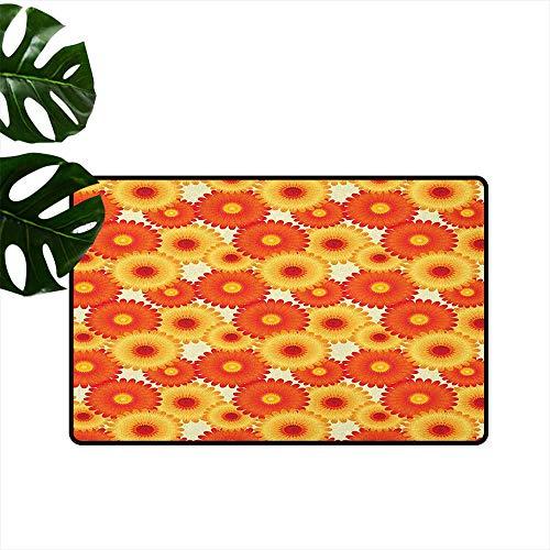 - RenteriaDecor Orange,Washable Entrance Doormat Gerbera Flowers Petals in Graphic Style Vibrant Summer Nature Design 36