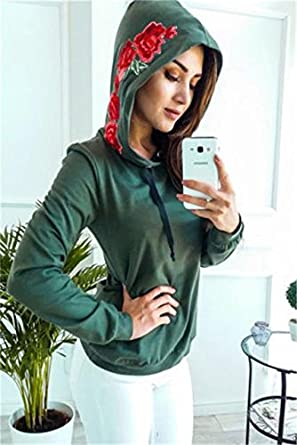 Aster Moon Shop Rose Print Hoodies Women Pullover Casual Harajuku Jumper Sweatshirt, (Color -