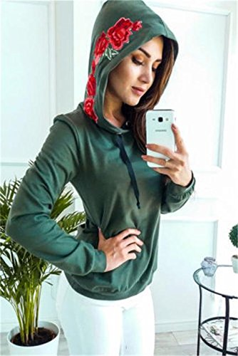 Aster Moon Shop Rose Print Hoodies Women Pullover Casual Harajuku Jumper Sweatshirt, (Color - Army Green, Size - XL) at Amazon Womens Clothing store: