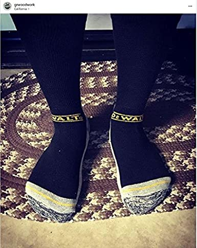 DeWALT Mens 2 Pack Wool Blend Boot Crew Socks (Black & Gray) at Amazon Mens Clothing store: