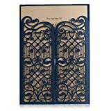 Wishmade Navy Blue Laser Cut Wedding Invitations Cards With Hollow Favors Open Door Design for Birthday Bridal Shower Engagement Printable Cardstock (pack of 50pcs)