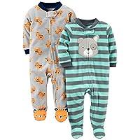 Simple Joys by Carter's Baby Boys 'Pack de cinco pies de lana con juego y sueño, tigre /perro, 6-9 meses