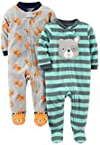 Baby : Simple Joys by Carter's Baby Boys' 2-Pack Fleece Footed Sleep and Play, Tiger/Dog, 3-6 Months