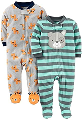 Simple Joys by Carter's Baby Boys' 2-Pack Fleece Footed Sleep and Play, Tiger/Dog, 3-6 Months - Infant Footed Sleepwear