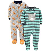 Simple Joys by Carter's Baby Boys 2-Pack Fleece Footed Sleep and Play, Tiger/Dog, Preemie