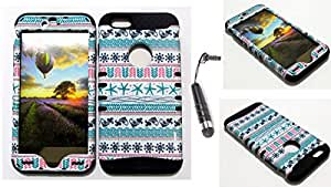 CellTx Shockproof Hybrid Case For Apple (iPhone 6 Plus) and Stylus Pen, Black Soft Rubber Skin with Hard Cover (Tribal, Pattern, Fish, Blue) AT&T, T-Mobile, Sprint, Verizon, Boost Mobile, U.S Cellular, Cricket by mcsharks