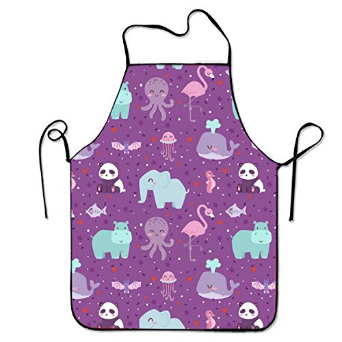 - aportt Unisex Waterproof Aprons Smiling Wildlife Kitchen Apron with Adjustable Strap for Cooking Gardening