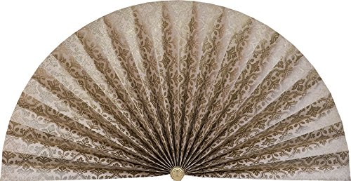 Neat Pleats Decorative Fan, Hearth Screen, or Overdoor Wall Hanging - L465 - Light Beige with Gold Pattern (Screen Fireplace Fan)