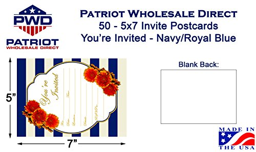 50-Navy-Royal-Blue-5×7-Heavy-Duty-Postcard-Invitations-for-showers-weddings-parties-anniversary-birthday-graduation
