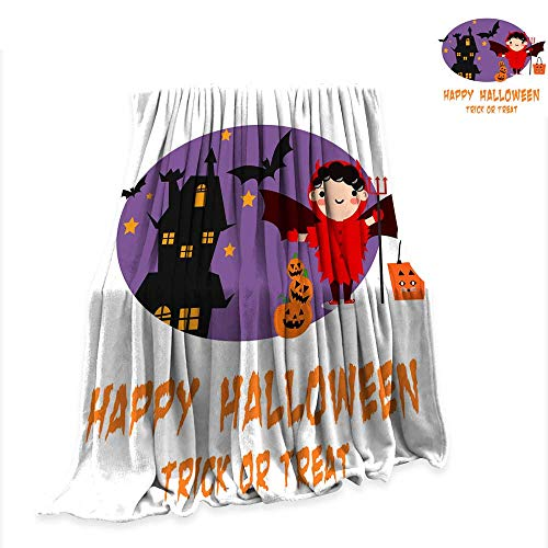 Anniutwo Throw Blanket Halloween Background with Lovely Costumes 60