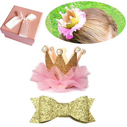 Elesa Miracle Baby Hair Accessories Baby Girl's Gift Box with Shiny Bow and Crown Tiara Hair Clips Set (2pc- Gold)