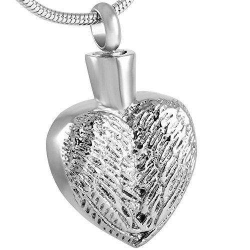Etch Urn (love of life SS8558 Etch Surface Heart Memorial Necklace Stainless Steel Cremation Ash Keepsake Necklace Jewelry)