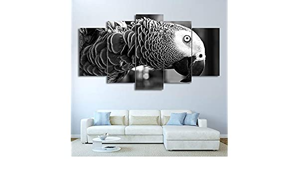 mmwin HD Impreso 5 Piezas Canvas Art Bird Modular Blanco y Negro ...
