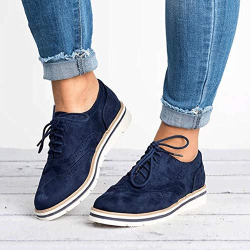 Retro Women England Shoes Boots Carved Lace Flat Blue Shoes Up Casual Casual FALAIDUO Casual Suede Ladies Martin q5H0w88