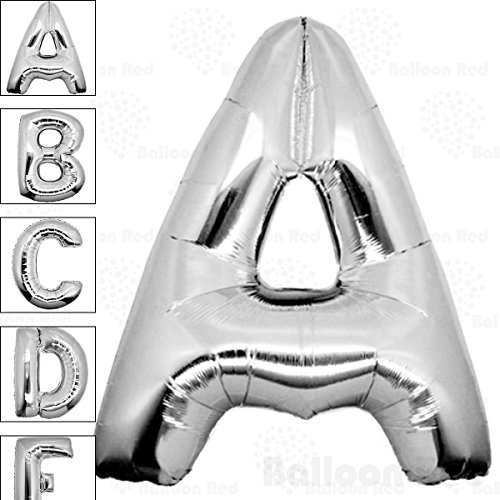 [40 Inch Giant Jumbo Helium Foil Mylar Balloons (Premium Quality), Glossy Silver, Letter A] (Super Easy Character Costumes)