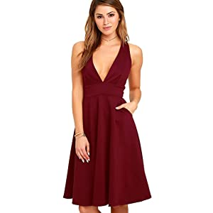 Women 's skirt deep v-neck sleeveless back zipper Dress