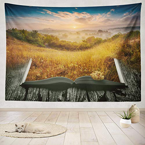 (ASOCO Tapestry Wall Handing Summer Valley Light Sunrise Open Magical Book Landscape Nature Fantasy Wall Tapestry for Bedroom Living Room Tablecloth Dorm 60X80 Inches)
