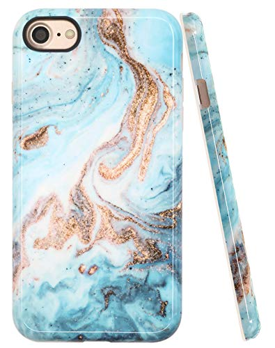A-Focus Case for iPhone 8 Case Marble, iPhone 7 Case, Blue Green Marble Rock Stone IMD Design Series Protective Shock Proof Flexible Slim TPU Case for iPhone 7 iPhone 8 4.7 inch Yellow Blue ()