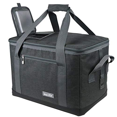 - Hap Tim Soft Cooler Bag 40-Can Large Reusable Grocery Bags Soft Sided Collapsible Travel Cooler for Outdoor Travel Hiking Beach Picnic BBQ Party (US13634-Dark Grey)