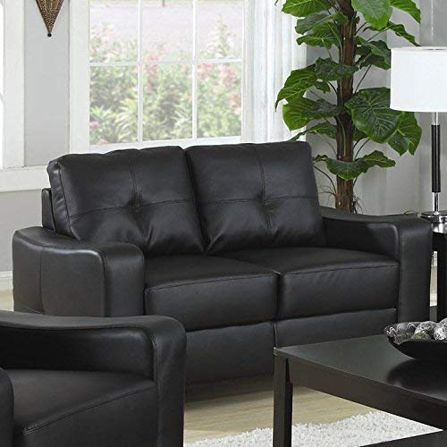 Coaster Home Furnishings Jasmine Bonded Leather Loveseat Black