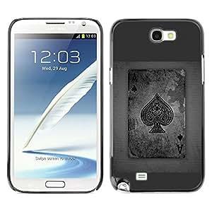 TECHCASE**Cubierta de la caja de protección la piel dura para el ** Samsung Galaxy Note 2 N7100 ** Ace Spades Grey Poker Gambling Cards