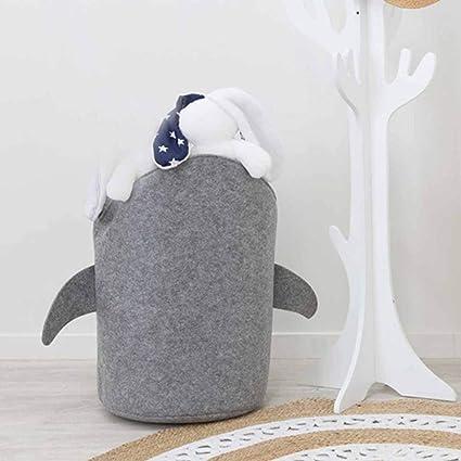juguetes color gris dise/ño de tibur/ón 30 x 45 cm QQ Cesta de fieltro para la colada con gran capacidad para ropa plegable