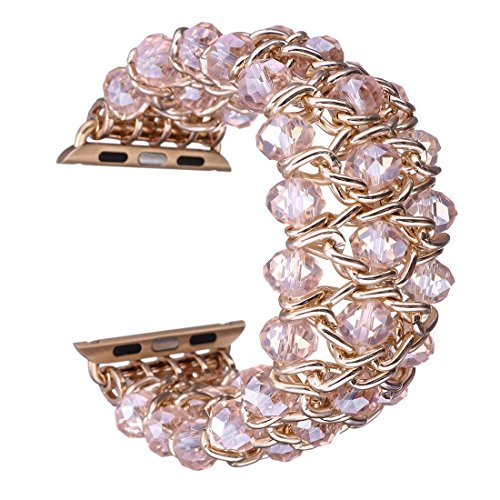 Gets for Apple Watch Band Design Classy Retro Crystal Beaded Stretch Elastic Watch Strap for Iwatch Band (Pink,38mm) by Gets