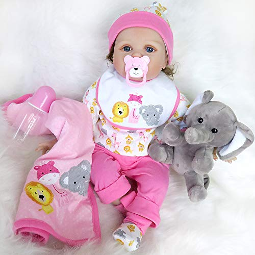 Seedollia Real Life Reborn Baby Doll Girl Cotton Body Pink Outfit 22 inch with Cute Toy Elephant Blanket by Seedollia
