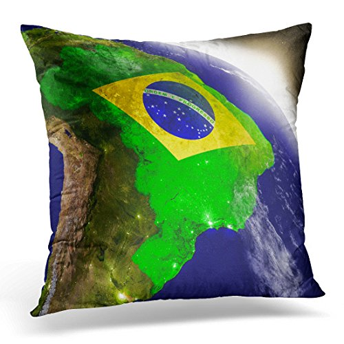 - Sdamase Throw Pillow Cover Brazil with Embedded Flag on Planet During Sunrise 3D with Highly Detailed Realistic and Visible City Decorative Pillow Case Home Decor Square 18